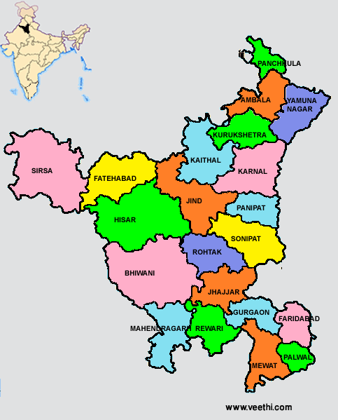 Haryana Map with Districts