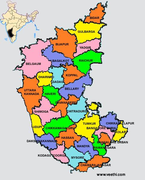 Karnataka Map with Districts