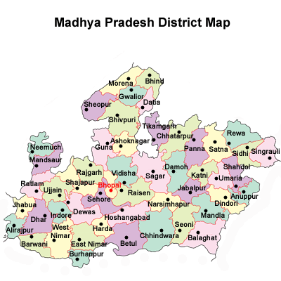 Madhya Pradesh District Map